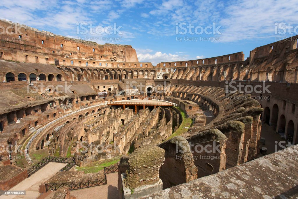 Inside view of Coliseum in Rome Inside view of Colosseum arena amphitheater in Rome Amphitheater Stock Photo