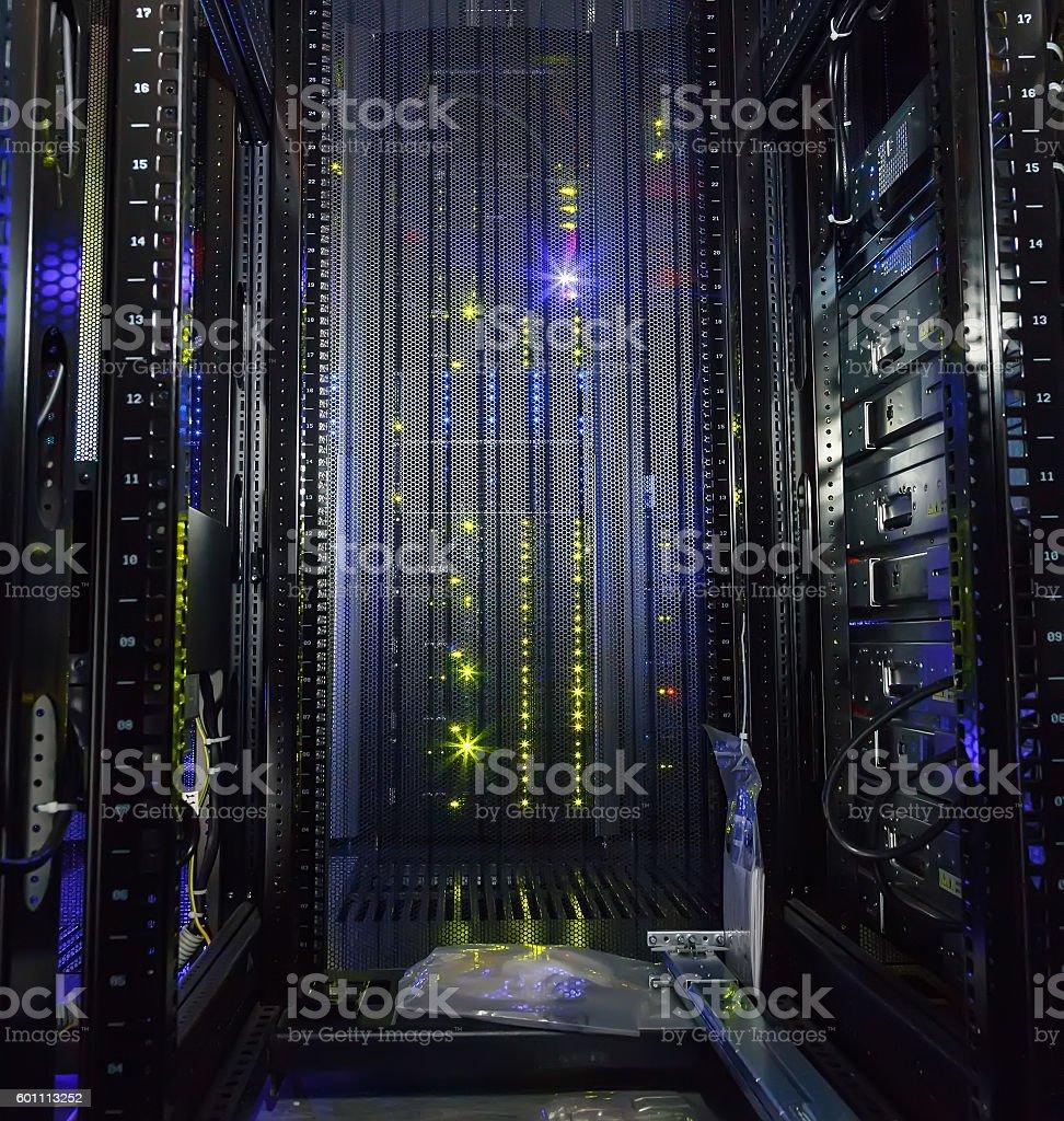 inside view of empty rack modern supercomputer data center stock photo