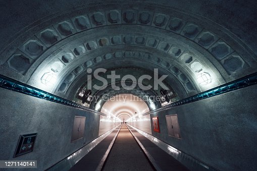 inside view of illuminated old Elbtunnel in Hamburg