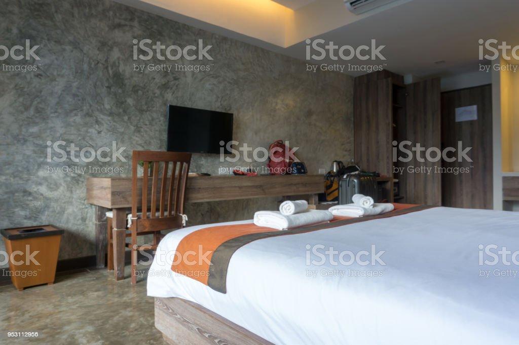 Innenansicht Der Moderne Luxusdoppelbettdekoration Für Haus
