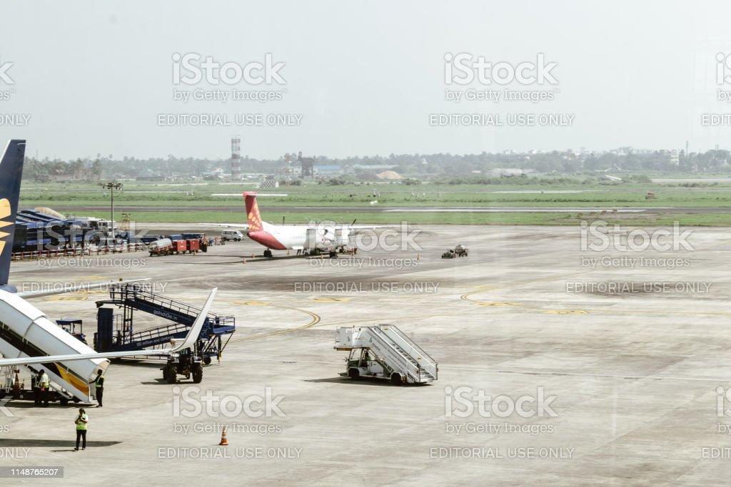 Inside View of Netaji Subhas Chandra Bose airport, popularly known as Kolkata or Calcutta airport. stock photo
