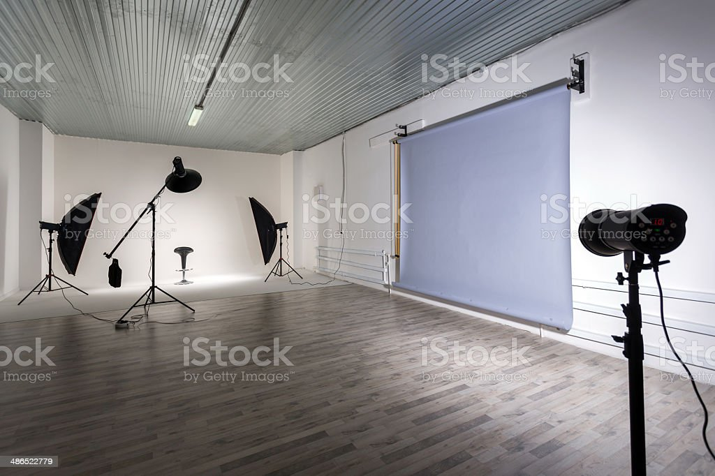 Inside view of photographic studios stock photo