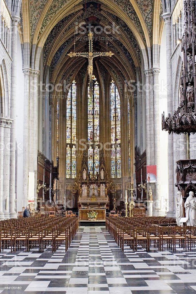 """Inside view of Saint-Paul cathedral in Liege """"The Cathedrale Saint-Paul church in Liege, Belgium. Founded in the 10th century."""" Altar Stock Photo"""