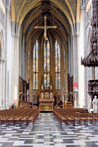 Inside View Of Saintpaul Cathedral In Liege Stock Photo - Download Image Now
