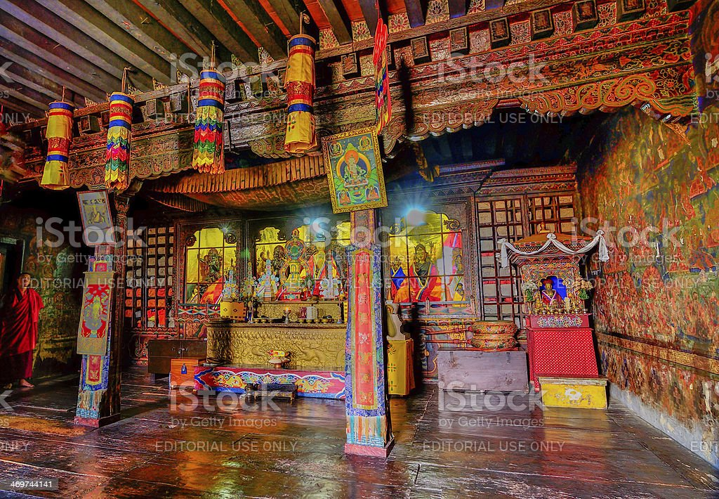 Inside view of Silerygaon Monastery, Sikkim, India stock photo