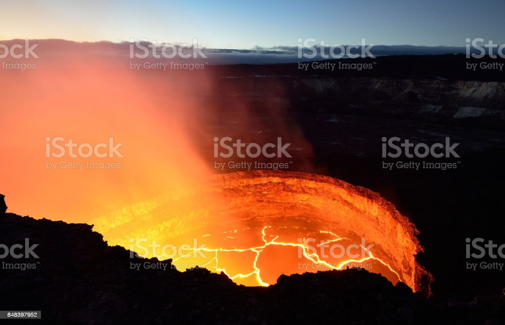 inside view of the active volcano with lava flow in Volcano National Park, Big Island of Hawaii stock photo