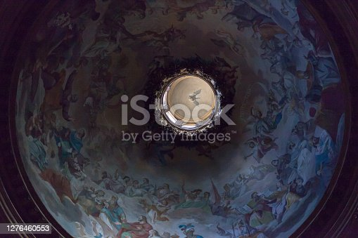 istock Inside view of the dome of Church of St. Ignatius of Loyola at Campus Martius with paintings and frescoes 1276460553