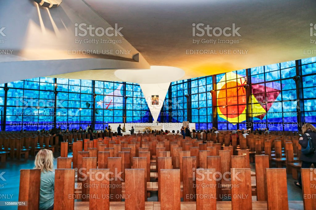 Inside view of the new church of Madonna of Divine Love, famous destination of Catholic pilgrimage - Rome - Italy stock photo