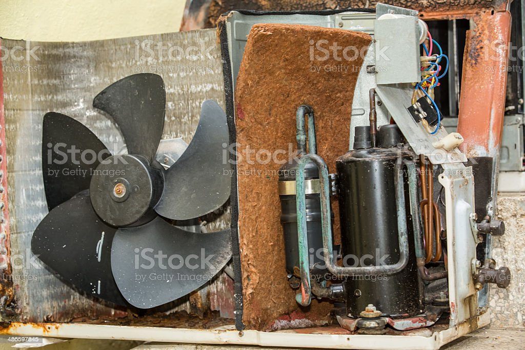 Inside view of the parts of old air conditioner stock photo