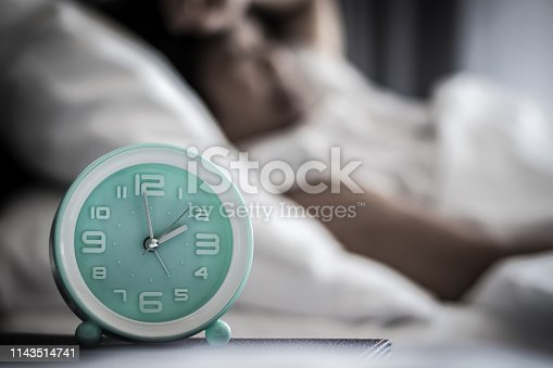 istock Insomnia or Sleep changes and disorders in elderly concept.Alarm clock time at 2 a.m. morning with blurry women lay down awake. Older halthcare concept. 1143514741