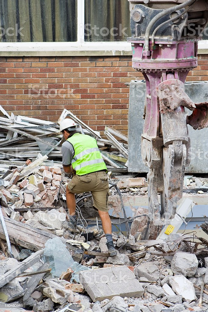 Inspecting a Demolition royalty-free stock photo