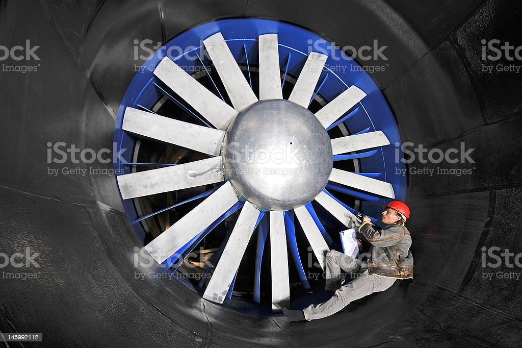 Inspecting a wind tunnel stock photo