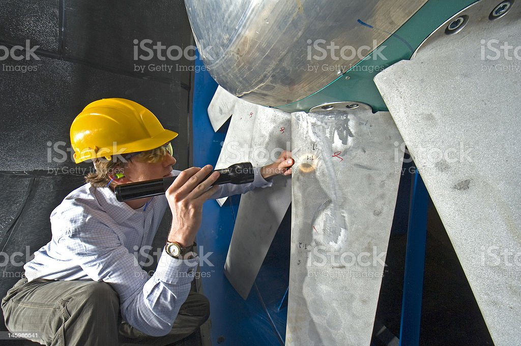 Inspecting the blades stock photo