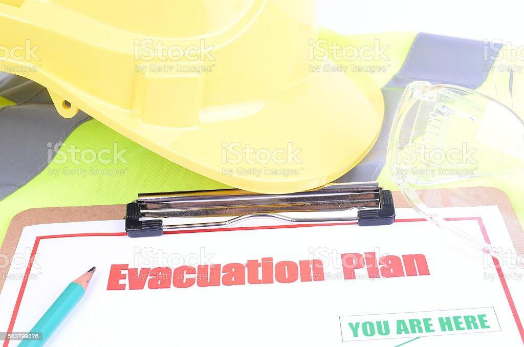 Inspecting the Evacuation Plan stock photo