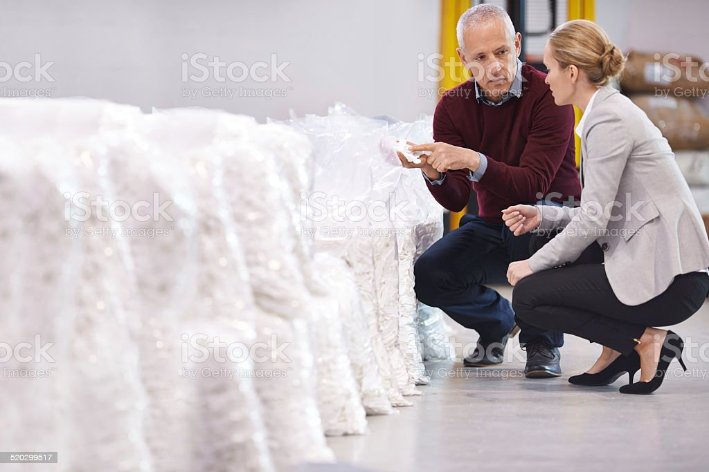 Inspecting the raw materials stock photo