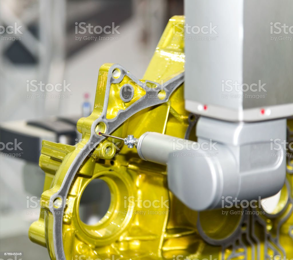 inspection automotive mold cam shaft dimension by CMM measuring machine stock photo