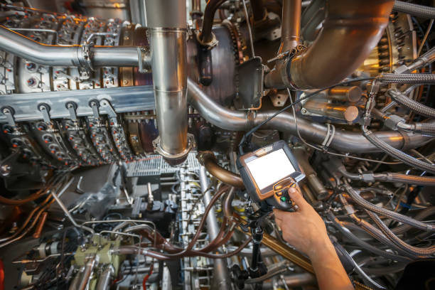 inspection of a gas turbine engine using a video endoscope. search for defects inside the turbine and shooting on video, photos using a measuring instrument. - defects stock pictures, royalty-free photos & images