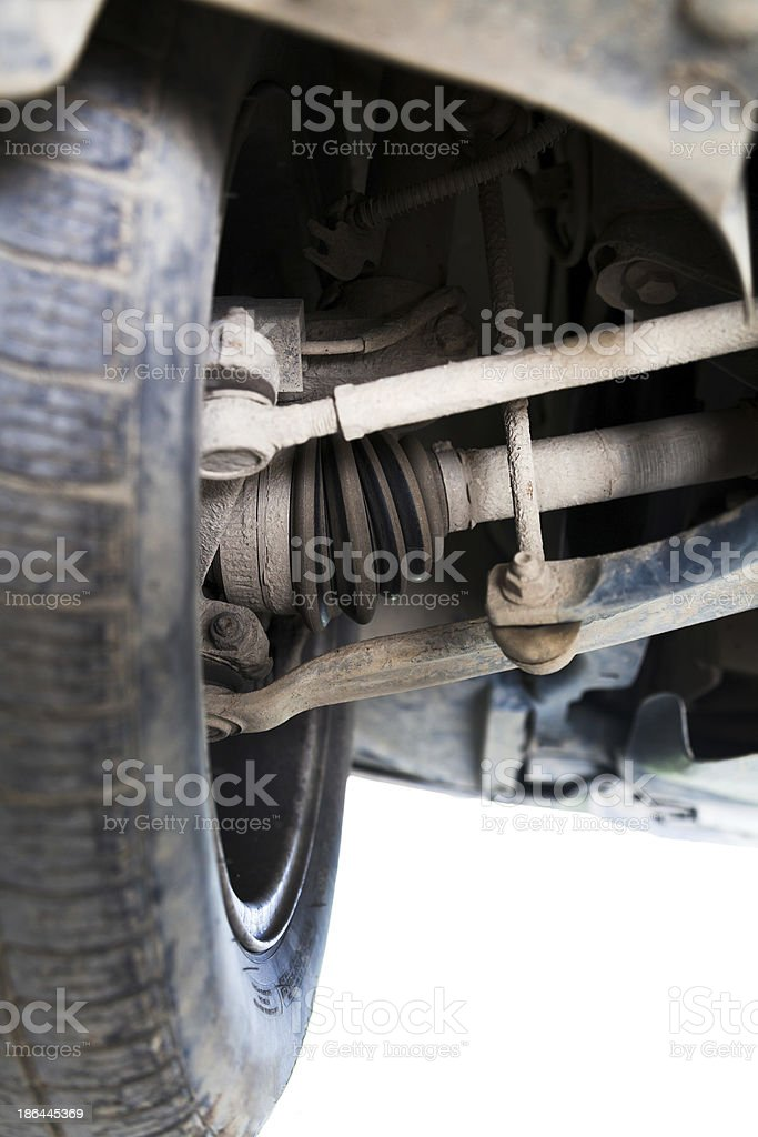 inspection of car suspension stock photo