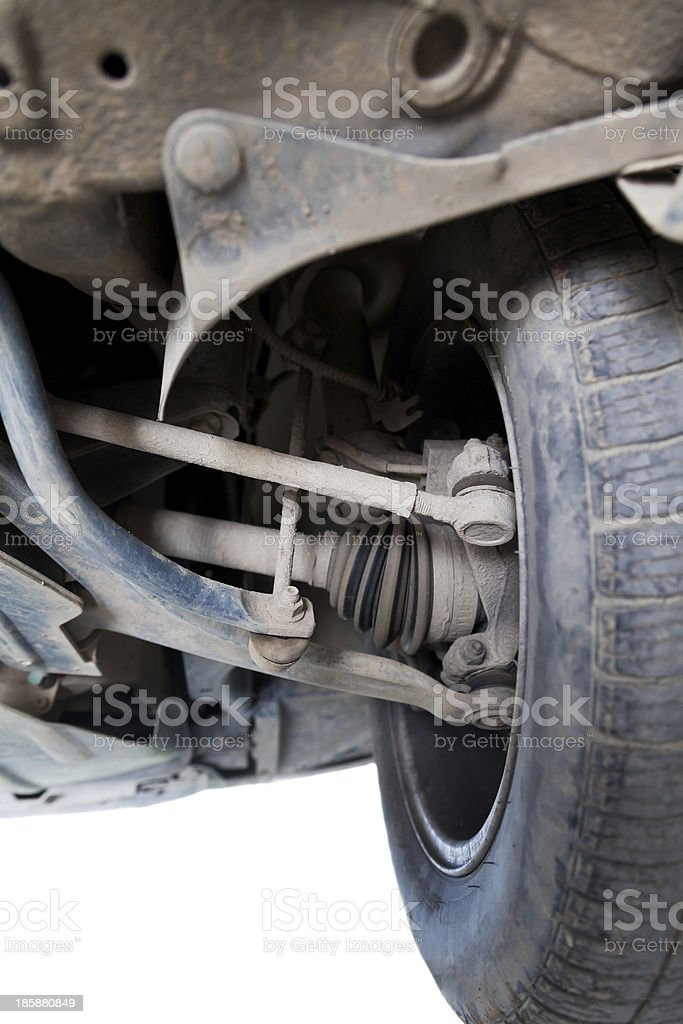 inspection of vehicle suspension stock photo