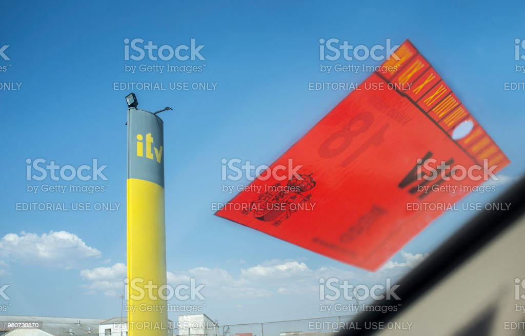 Inspection Station Pole Sign with sticker stock photo