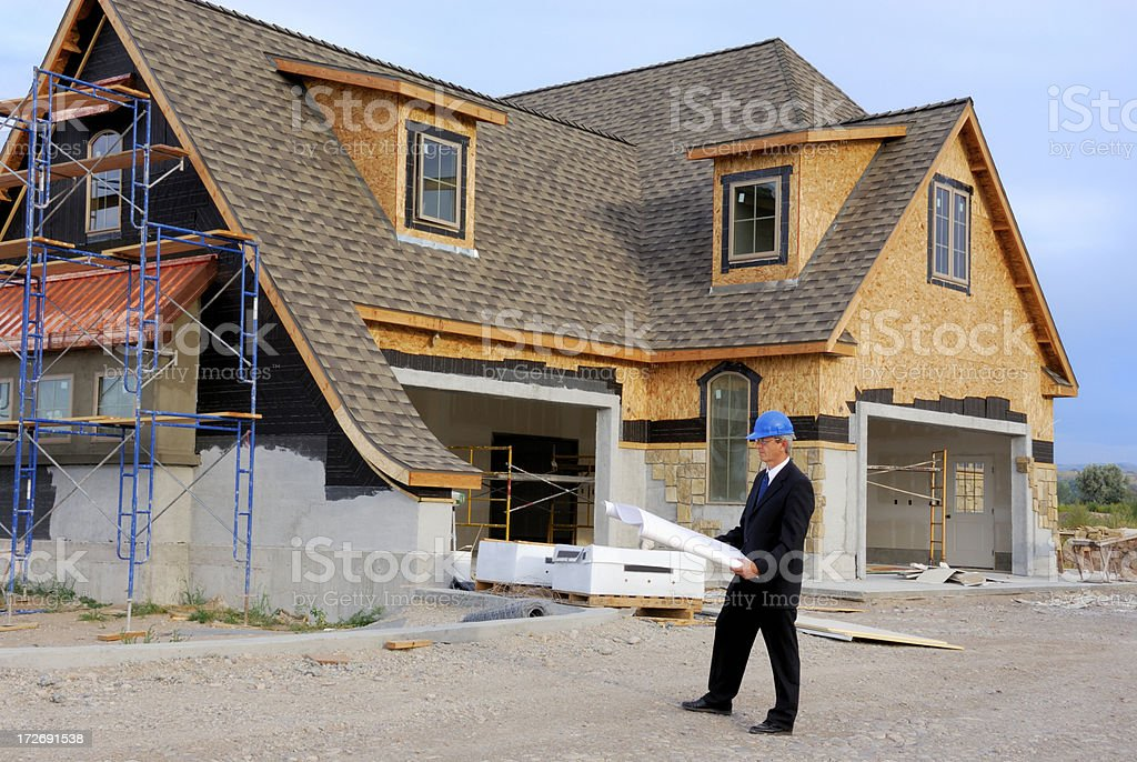 Inspector Checking For Flaws In Construction royalty-free stock photo