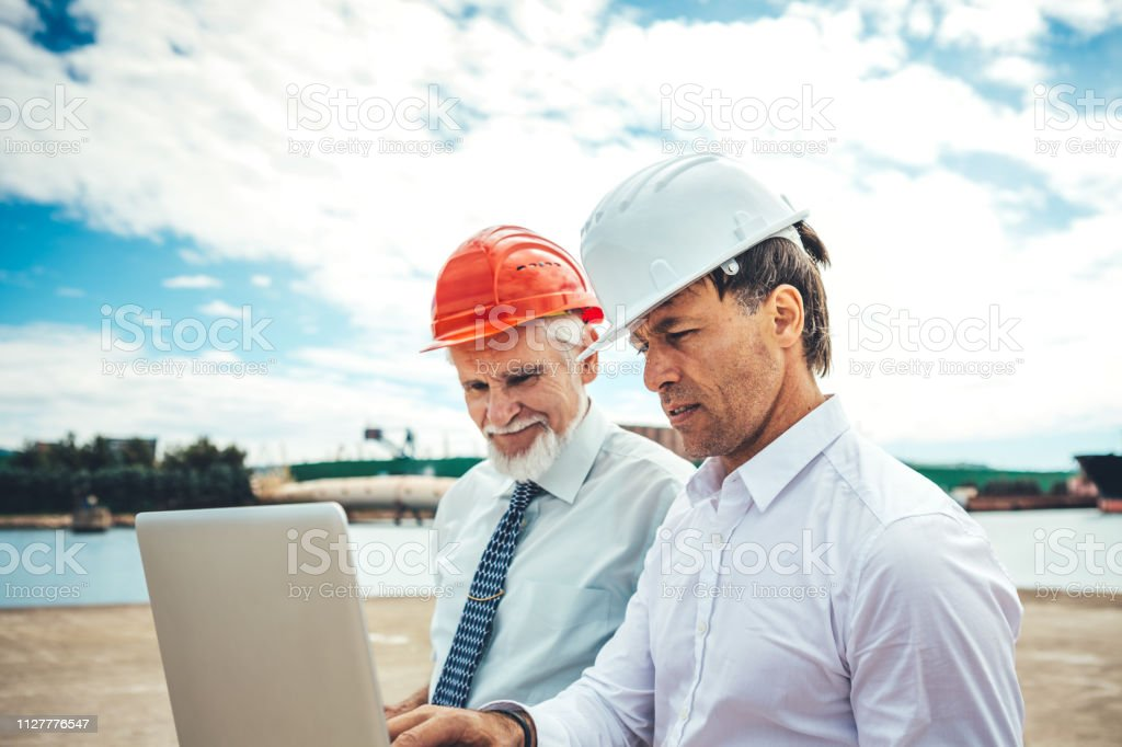 Inspectors At Commercial Dock stock photo
