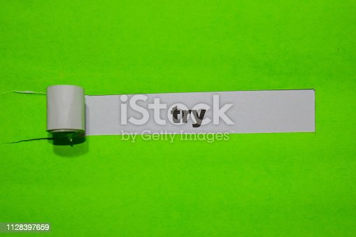 838254520 istock photo TRY, Inspiration and business concept on green torn paper 1128397659