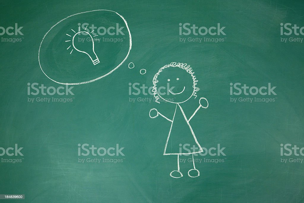 Inspiration: Bright Idea Chalk Drawing royalty-free stock photo