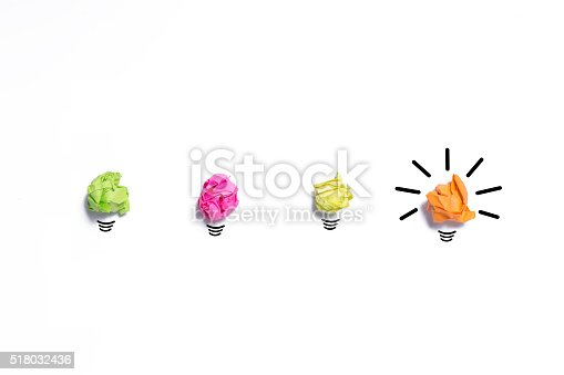 istock Inspiration concept crumpled paper light bulb metaphor for good 518032436