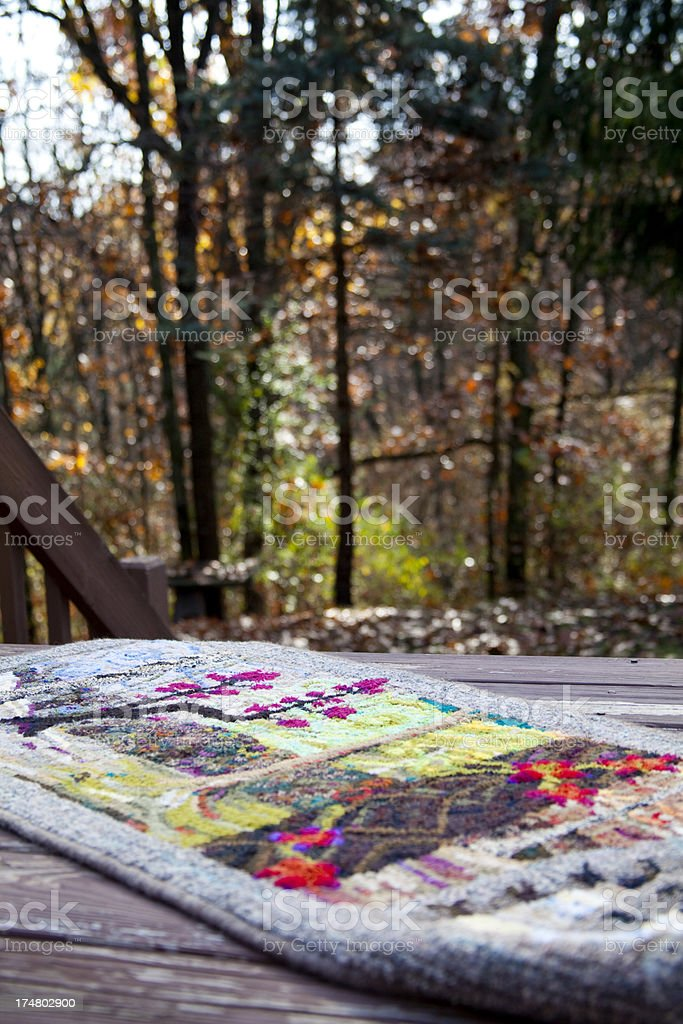 Inspiration for a Traditional Hooked Rug Showing Forest Scene royalty-free stock photo