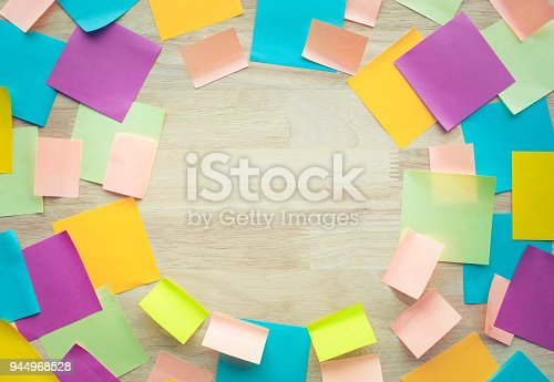 istock Inspiration ideas concepts with colorful notepaper on wood table 944968528