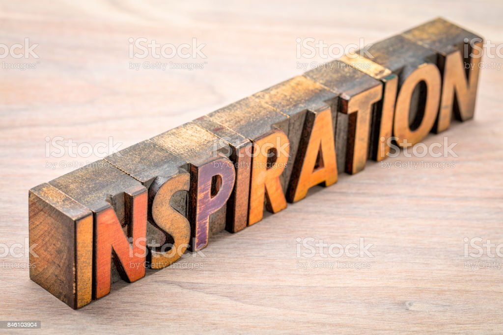 inspiration word abstract in vintage wood type stock photo