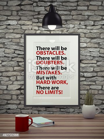 istock Inspirational motivating quote on picture frame. 492702588