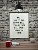 istock Inspirational motivating quote on picture frame. 492702662