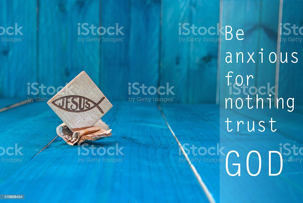 Inspirational motivating quote saying that God has everything in control stock photo