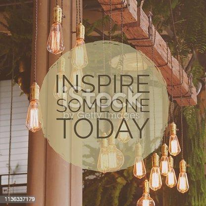 Inspirational motivation quote on lightbulb background