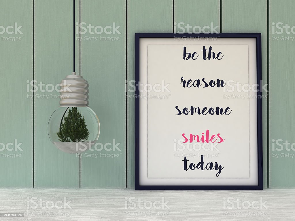 Inspirational motivational quote. Be the Reason Someone Smiles Today. stock photo