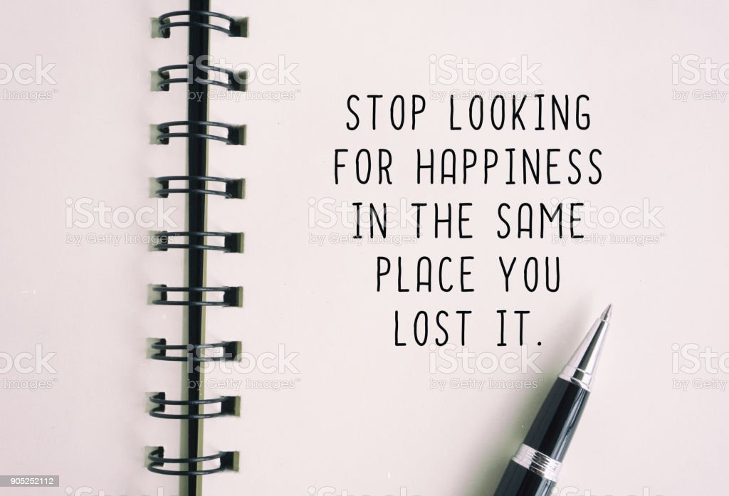 Inspirational Quote About Happiness stock photo