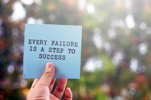 Inspirational quote- Every failure is a step to success Inspirational quotes, Hand, Human Hand, Quotation - Text, Text failure stock pictures, royalty-free photos & images