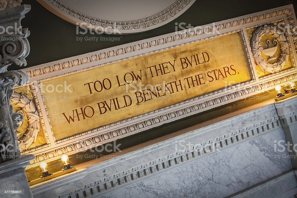 Inspirational Quote in Library of Congress royalty-free stock photo