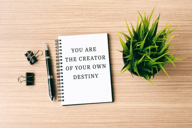 Inspirational quote- You are the creator of your own destiny stock photo