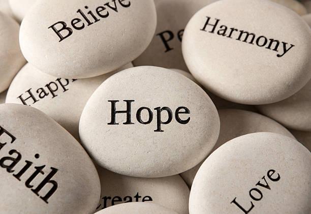 Inspirational stones - Hope stock photo