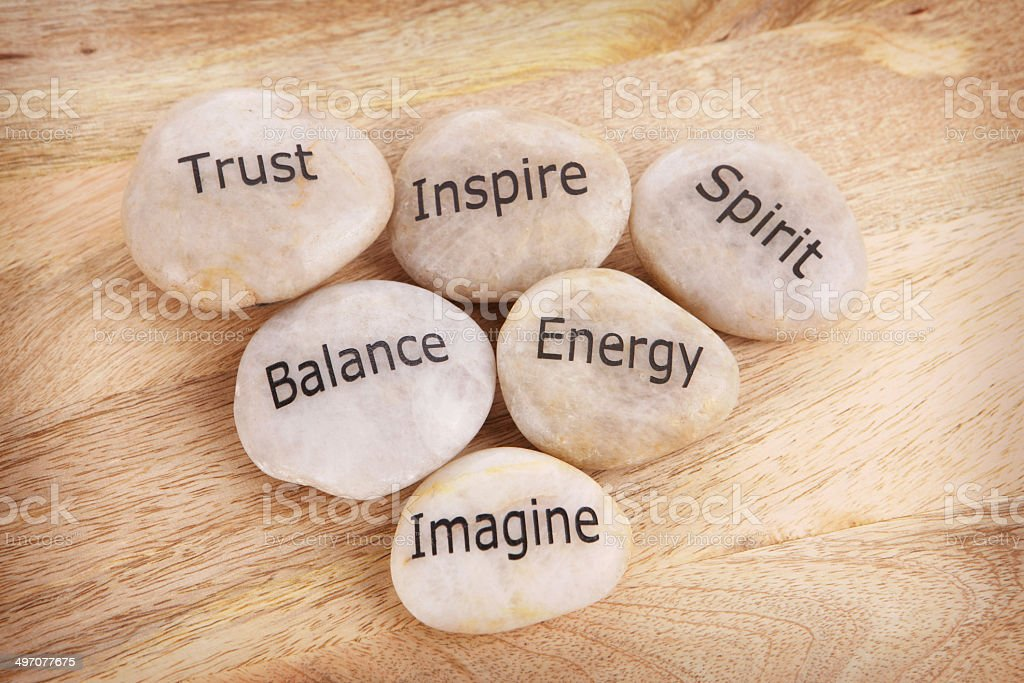 Inspirational Stones - Words on Pebbles stock photo