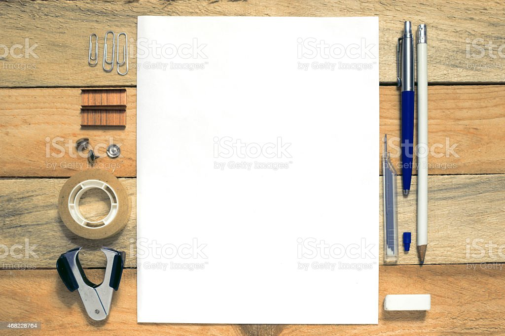 Inspirational wooden office table stock photo