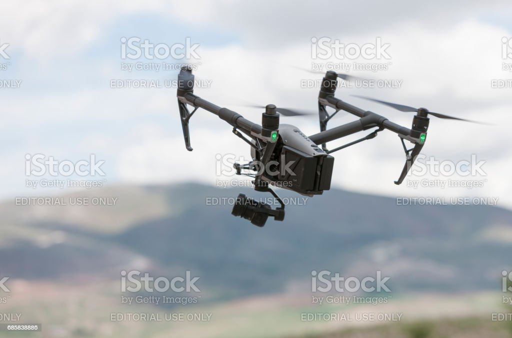 DJI Inspire Quadrocopter Flying stock photo