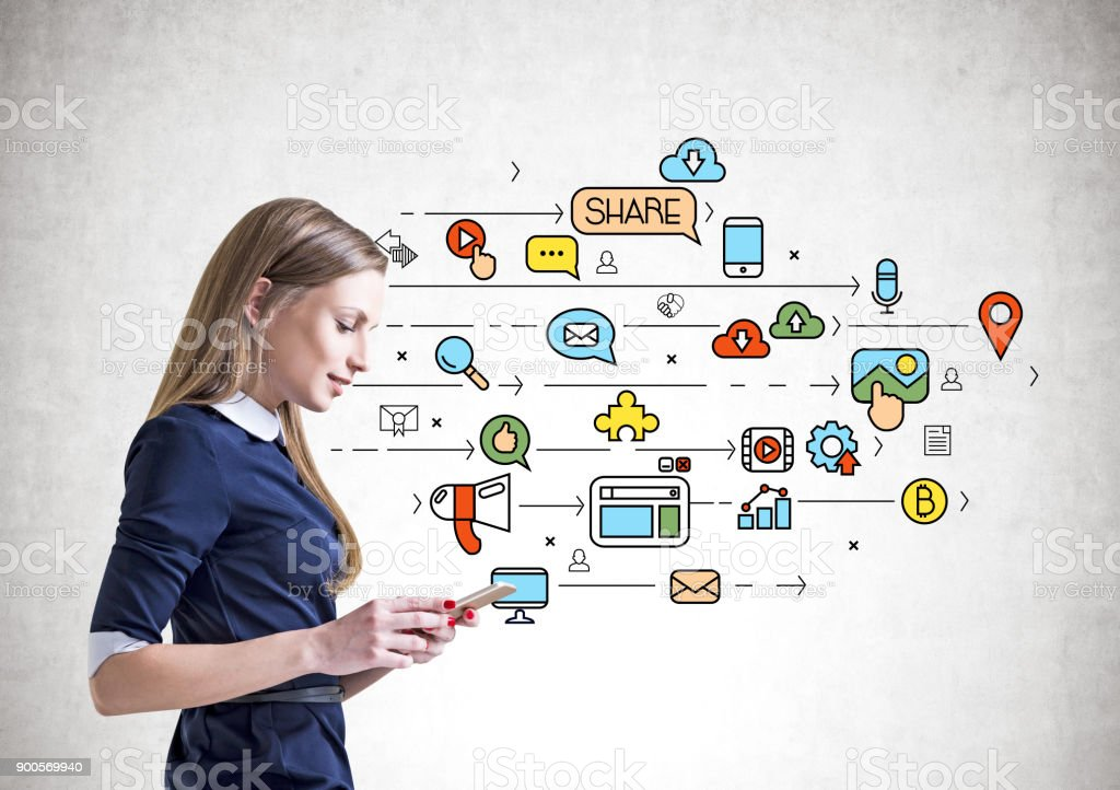 Inspired businesswoman with a tablet, social media stock photo