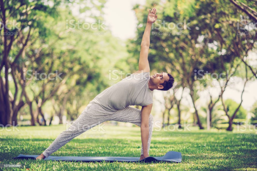 Inspired Indian Man Doing Yoga Asanas In City Park Stock Photo Download Image Now Istock