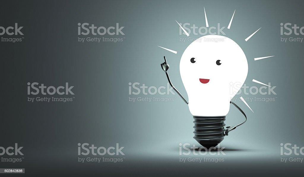 Inspired light bulb character stock photo