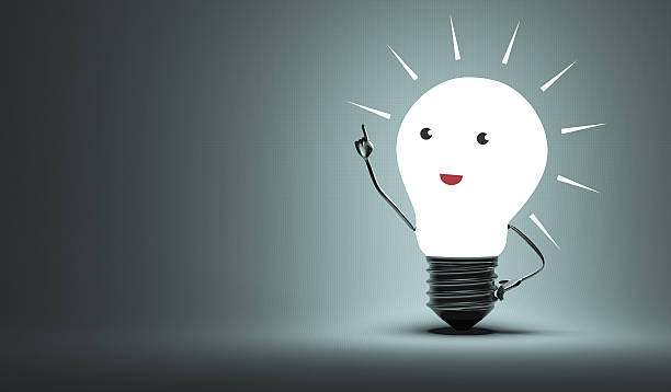 Inspired light bulb character stock photo