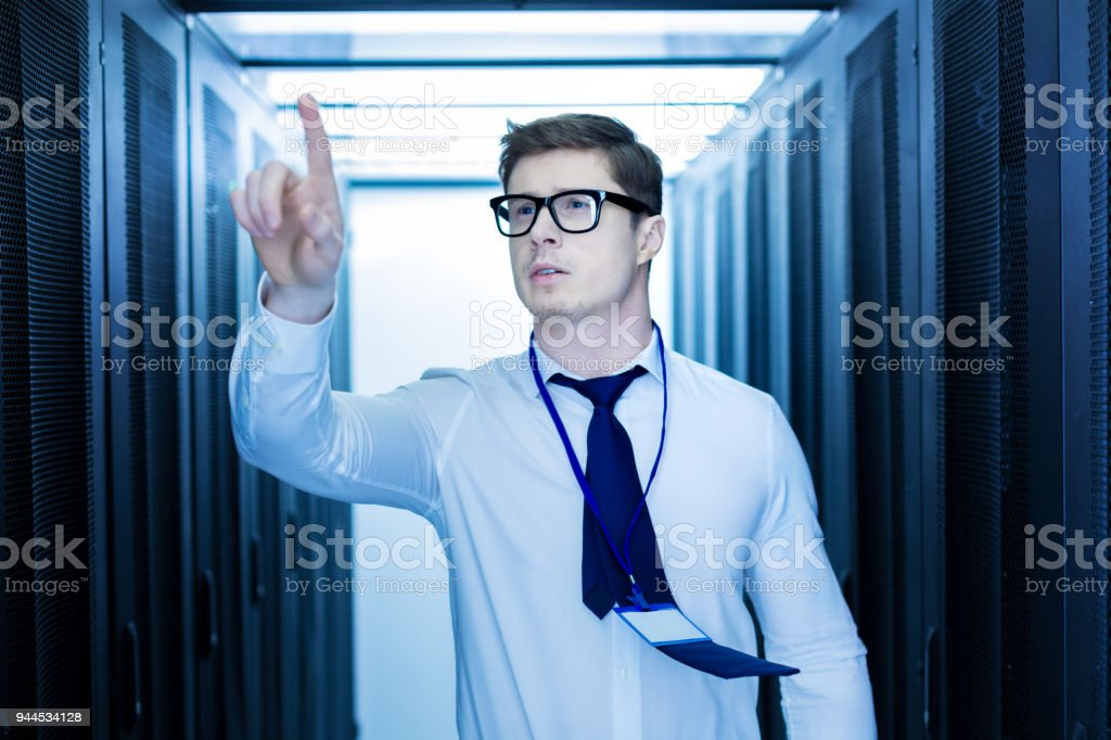Inspired man pointing his finger stock photo